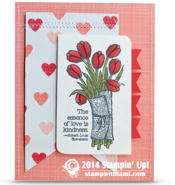 Stampin Up 2015 Occasions Catalog - Love is Kindness stamp and Stacked with Love designer series paper. Details on blog.