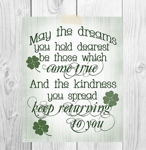 St. Patrick's Day Printable Art | May The Dreams You Hold Dearest | Irish Blessing | Home Decor on Etsy, $5.00: