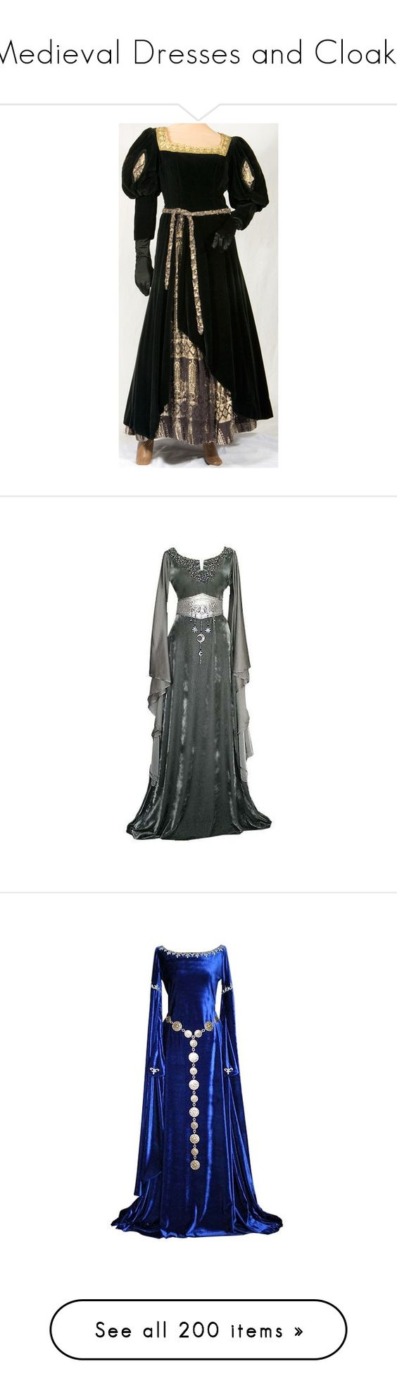 """""""Medieval Dresses and Cloaks"""" by xx-black-blade-xx ❤ liked on Polyvore featuring costumes, dresses, medieval, renaissance, plus size renaissance costume, maid marian costume, plus size costumes, queen costume, renaissance princess costume and gowns"""