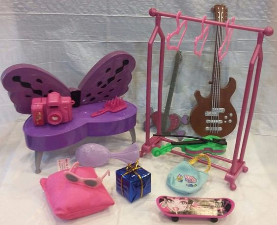 Huge Lot Teen Bedroom Accessories Barbie Monster High Hello Kitty & Clothes…