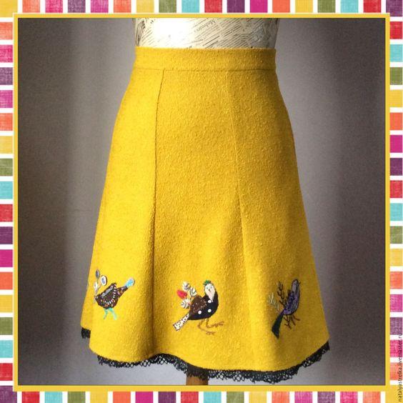 """Купить Юбка """" Птичка-полька """". - желтый, необычная одежда, Аппликация, горчичный цвет"""