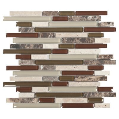 Accent the look of your home with this 12in x 12in linear bliss cabernet linear blend glass - How to enhance your home with glass tiling ...