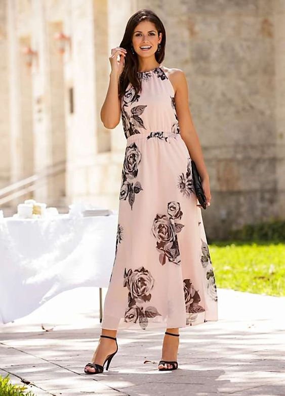 Rose Print Maxi Dress