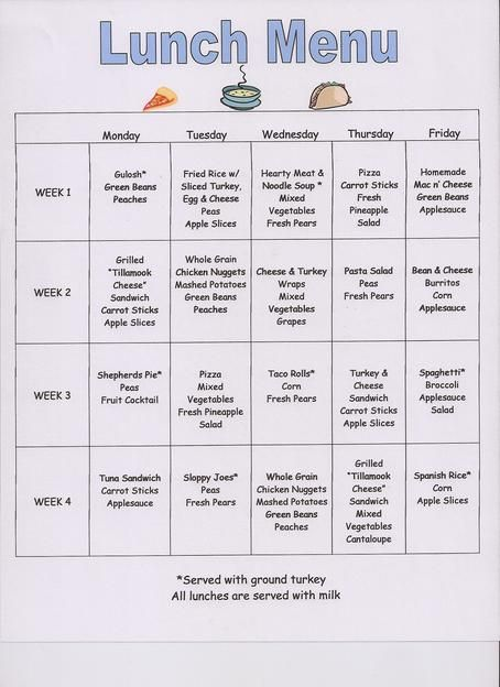preschool snack menu ideas – Lunch Menu Template