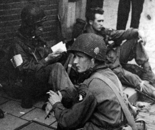 Easy Company members Joe Liebgott, Eugene Roe and Burton Christenson in Eindhoven, 1944.
