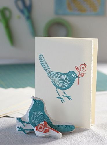 pretty hand-carved rubber stamps by Geninne.