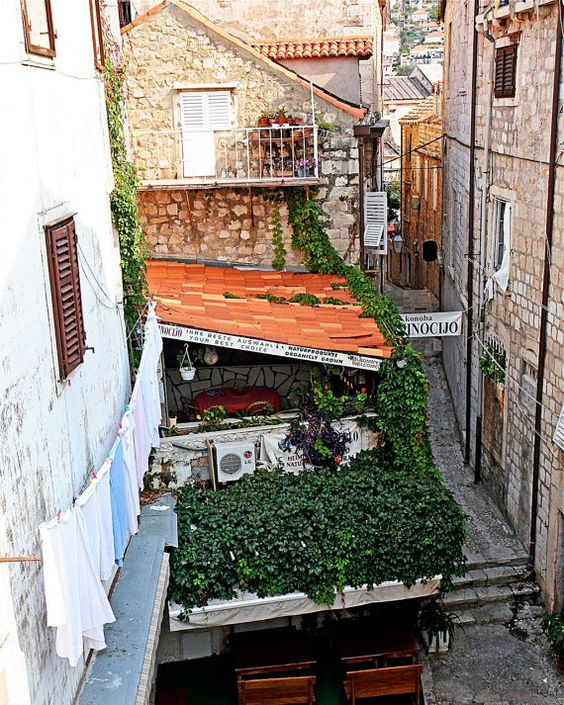 Dubrovnik Croatia Photography - Restaurant Along the Wall - Old City Photo - Mediterranean Decor