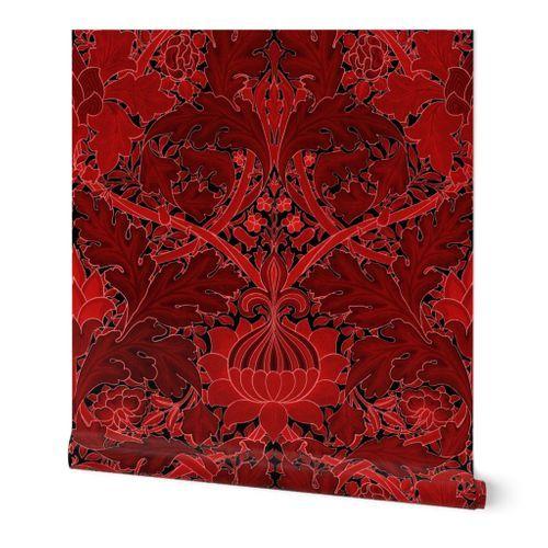 William Morris Growing Damask Red Spoonflower Spoonflower Wallpaper Shop Wallpaper Spoonflower