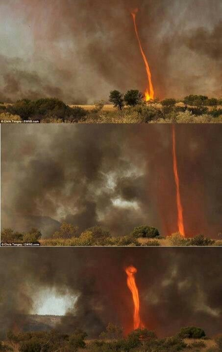 Tornado of fire, caught on camera in the Outback of Australia