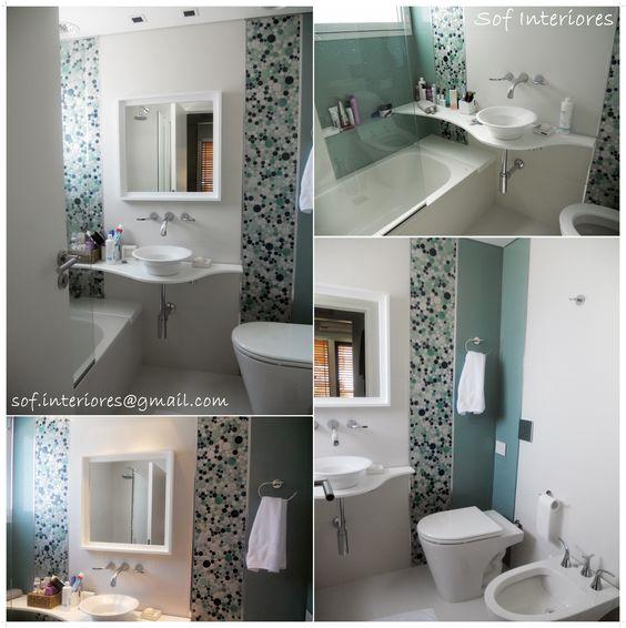 Baño Verde Con Blanco:Baño combinado en porcelanato blanco y verde agua Venecitas