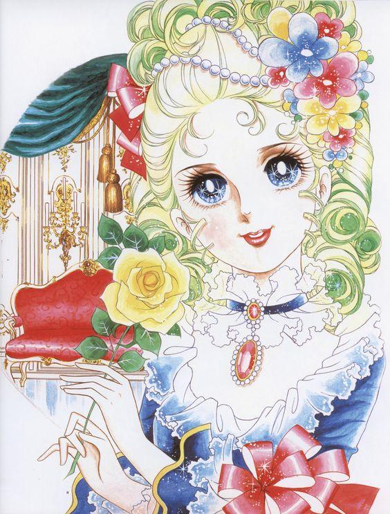 黄色いバラを持って微笑んでいるマリー・アントワネットのベルサイユのばらの壁紙