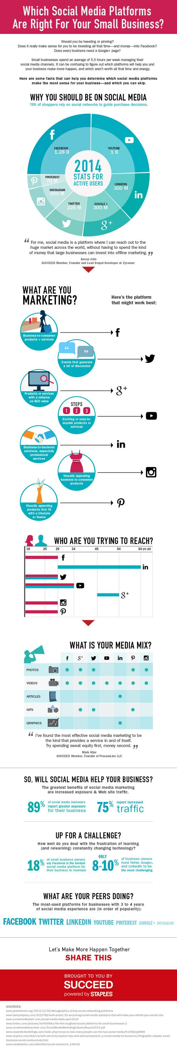 Social Media and Your Small Business image staples social media platform infographic v10