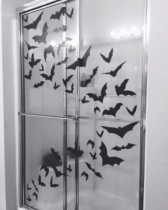 Bat Themed Shower Screen