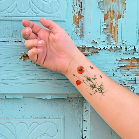 Temporary tattoo Vintage Poppies Red Wildflower by Siideways