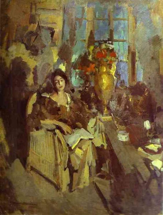 The Athenaeum - Portrait of a Woman (1912) (Constantin Alexeevich Korovin - ):