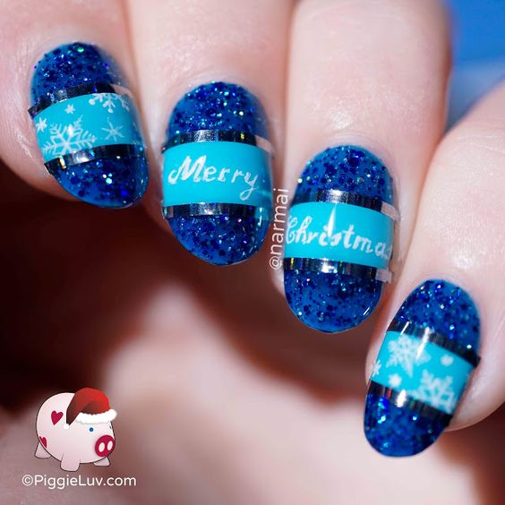 Freehand Christmas wishes for you all, inspired by My Nail Polish Online! The design might be blue but it won't be a blue, blue Christmas for you ;-) That's so corny XD Anyways, video tutorial on the blog!