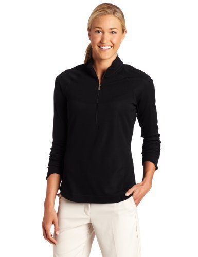 Nike Golf Women's Half Zip Long Sleeve Jacket, Black, X-Small Nike. $49.99. Mock-neck, textured panels at collar, chest, sides, and back, tapered cuffs. Dri-Fit UV fabric to help keep you dry and comfortable while helping to protect against UV rays. 98% polyester, 2% spandex. polyester. Machine washable. Thailand
