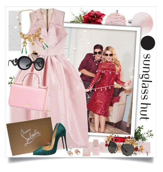 """Celebrate in Every Shade with Sunglass Hut"" by nantucketteabook ❤ liked on Polyvore featuring David Jones, Ted Baker, Roksanda, Christian Louboutin, Dolce&Gabbana, Delfina Delettrez, Bling Jewelry and Prada"