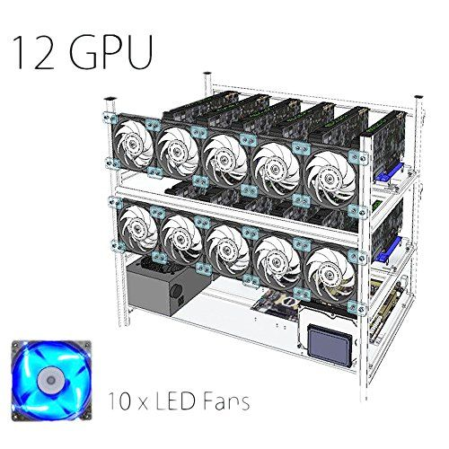 Open Air Mining Rig Stackable Frame 12 Gpu Case With 10 Bitcoin Cryptocurrency Gpu Miningrig Rig Mining Makemoney Gpum Rigs 10 Things Led
