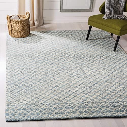 New Safavieh Abstract Collection Abt203a Contemporary Handmade Blue And Ivory Premium Wool Area Rug 9 X 12 H In 2020 Area Rugs Modern Wool Rugs Geometric Area Rug