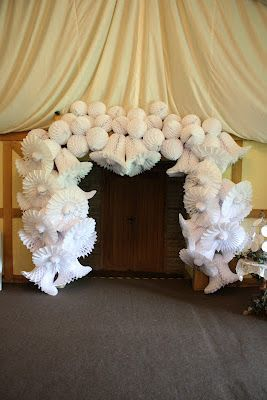 Great use of paper wedding bells.