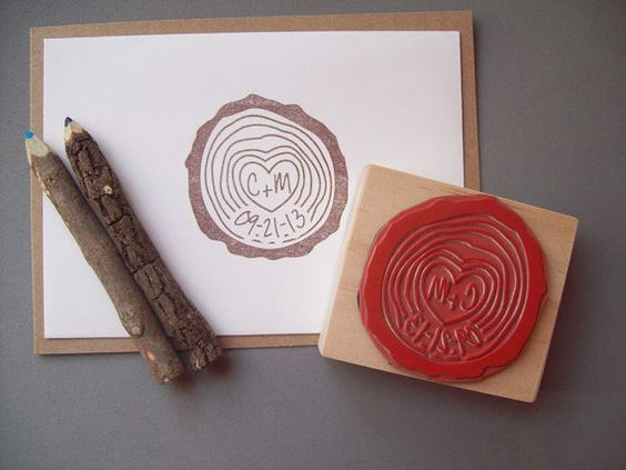Wood Slice Stamp with Initials and DateRustic Woodsy Wedding