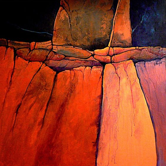 """""""GRAND CANYON 2""""     detail      original version   This painting (the lower version), was hanging around my studio for a couple years. I..."""