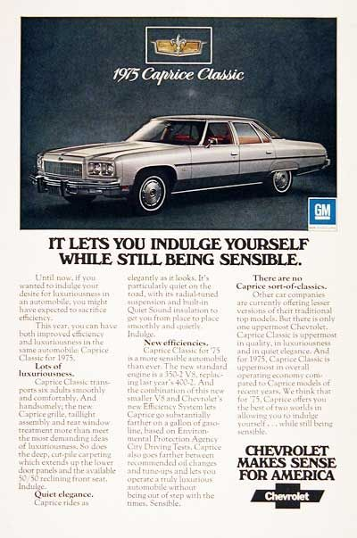 1975 Chevrolet Caprice Classic Original Vintage Advertisement Photographed In Rich Color Equipped Wi Caprice Classic Chevrolet Caprice Automobile Advertising