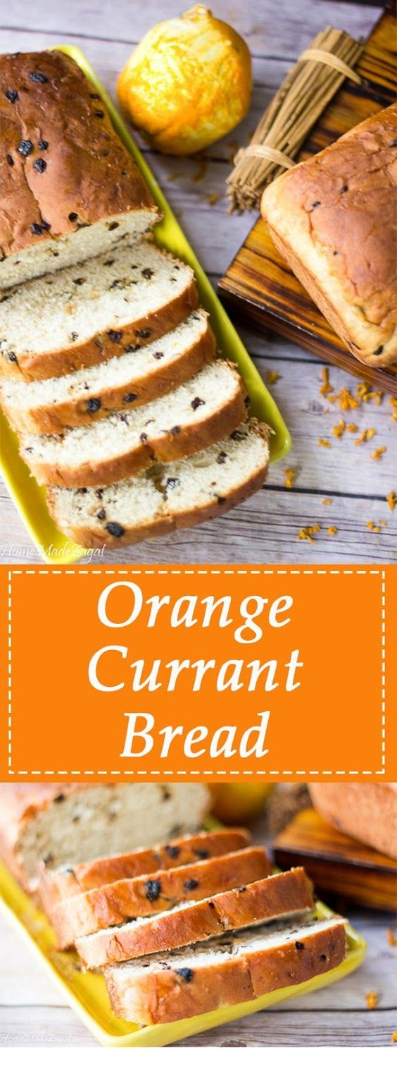 This is a delicious, tender bread that has a slight hint of sweetness with the addition of orange zest and currants.