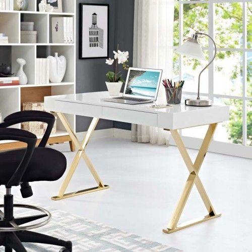 Glam White X Frame Gold Base Desk White Desk Office Cheap Office Furniture Contemporary Office Desk