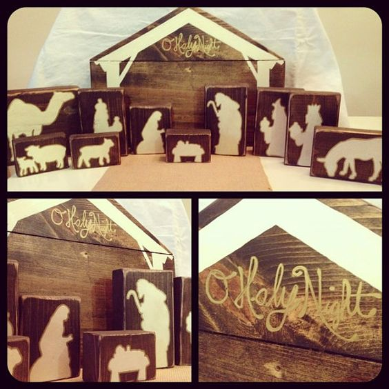wooden nativity silhouette 1