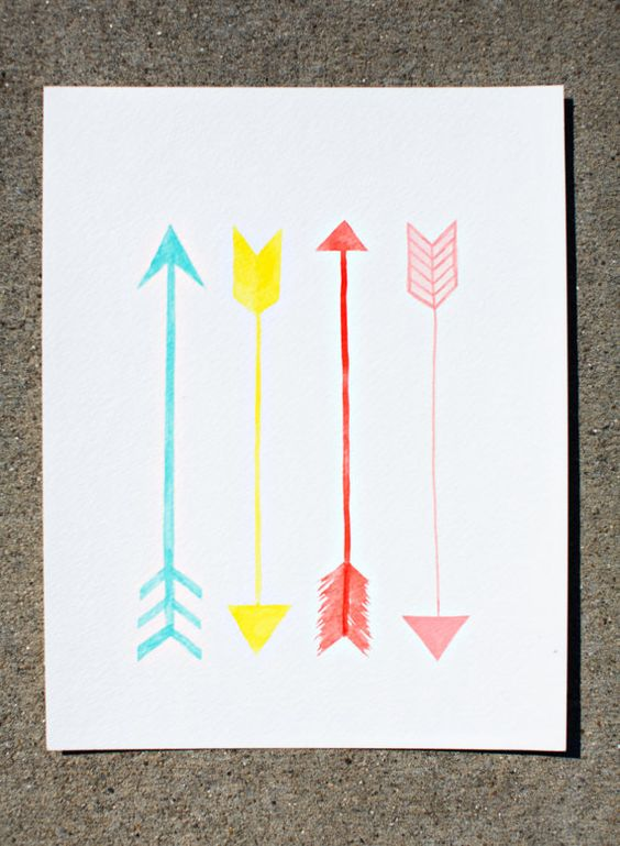 original arrows watercolor painting  -  nursery artwork - turquoise, yellow, coral, pink