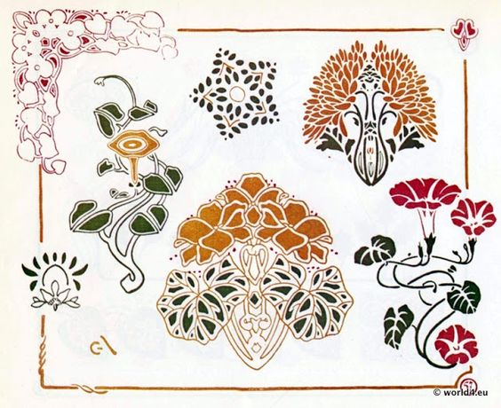 Jugendstil ornamente vorlage f r tattoo stickerei for Ornamente jugendstil