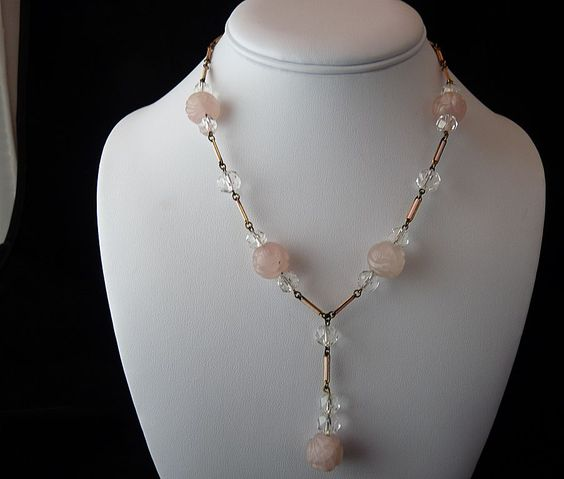 Carved Rose Quartz Crystal and Enamel Necklace....PRETTY
