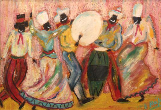 """ROJO, Octavio Argentino 1951- """"CANDOMBE"""" Pastel sobre cartón. Firmado O. ROJO abajo a la derecha.  Medidas: 50 x 70 cm"""