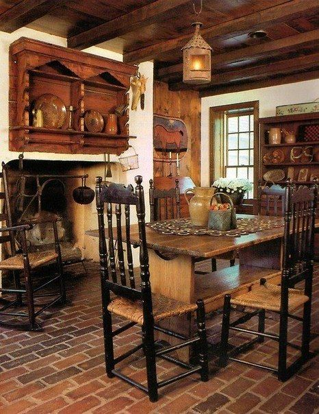 Style cabin and country style kitchens on pinterest for Colonial farmhouse interior design