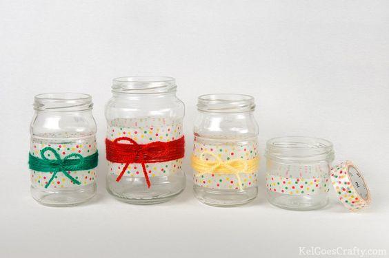 DIY jar decoration: easy and cute: washi tape yarn jars