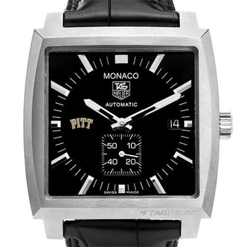 University of Pittsburgh TAG Heuer Watch - Men's Monaco Watch by TAG Heuer. $4195.00. Officially licensed by University of Pittsburgh. TAG Heuer international two-year warranty. Authentic TAG Heuer watch only at M.LaHart & Co.. Unique TAG Heuer presentation box.. Swiss-made Quartz movement.. University of Pittsburgh TAG Heuer men's Monaco watch, with automatic movement, is a legendary and iconic style featuring the Pitt logo.Square steel case (37.5mm) with polished screw...
