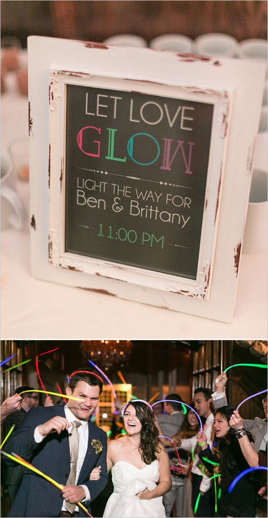 wedding sign for a glow stick wedding exit