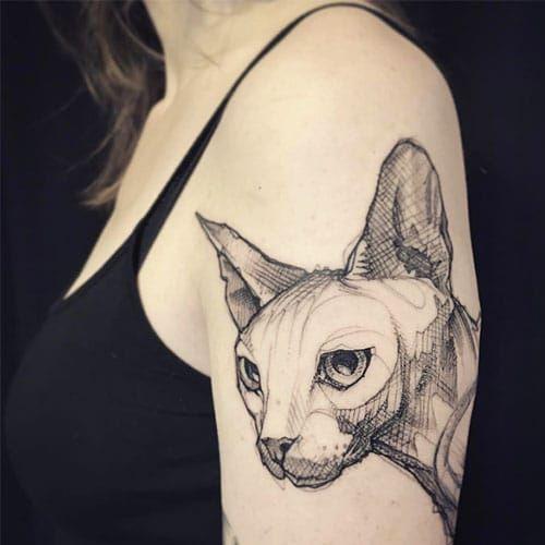 Nice Geometric Tattoo Oiseau1 Sphynx Cat Tattoo Cat Tattoo Sphinx Tattoo