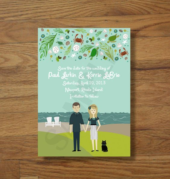 Absolutely Adorable ! Custom Illustrated Save the Dates by chicksnhens on Etsy