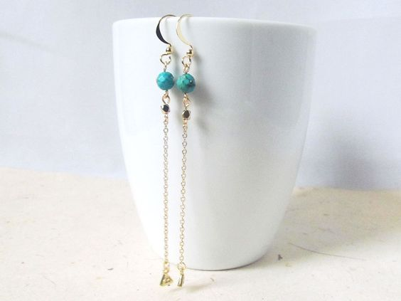 long turquoise drop earrings long dangle earrings, boho style earrings