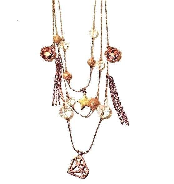 Betsey Johnson 3 Row Charm Illusion Necklace Star Flower Tassel Gem Diamond Bead Gem Diamonds Star Flower Necklace