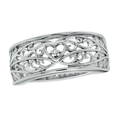 Precious Moments® Diamond Accent Scroll Band in Sterling Silver