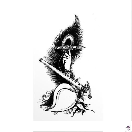 Krishna With Flute Wallpaper 671075 In 2020 Black And White Krishna Flute Clipart Krishna Flute Lord Krishna Hd Wallpaper Radha Krishna Art