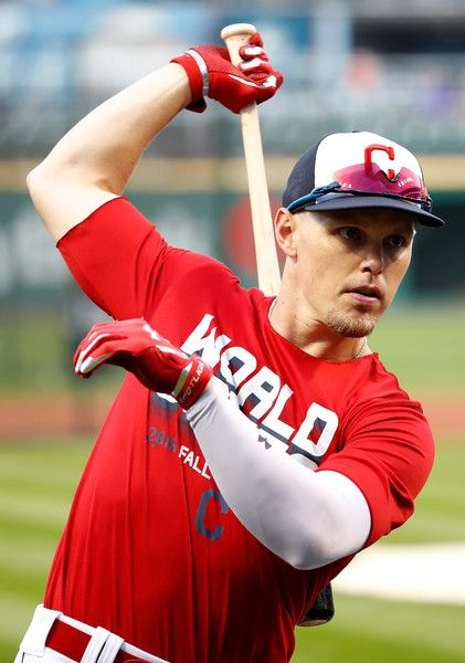 Brandon Guyer #6 of the Cleveland Indians stretches during batting practice prior to Game Seven of the 2016 World Series against the Chicago Cubs at Progressive Field on November 2, 2016 in Cleveland, Ohio. (Nov. 1, 2016 - Source: Gregory Shamus/Getty Images North America)