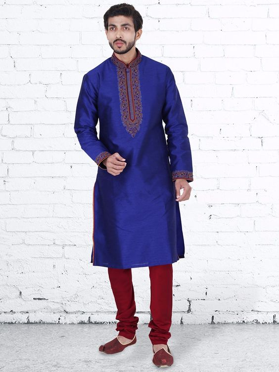 Royal Blue Raw Silk Wedding Kurta Suit