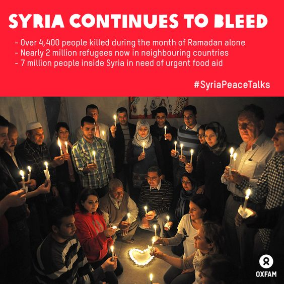 More than 4,400 people were killed during in the month of Ramadan alone. There are nearly 2 million refugees now in Jordan and Lebanon. And some 7 million people inside Syria are in need of urgent food aid. Without the international will to stop this, the conflict will continue and more lives will be lost. #SyriaPeaceTalks are needed now! http://www.change.org/petitions/don-t-let-syria-down