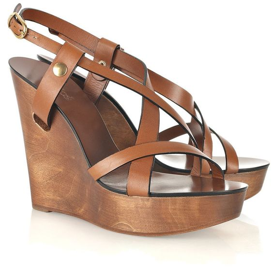 Tan leather sandals with a wooden wedge heel that measures ...