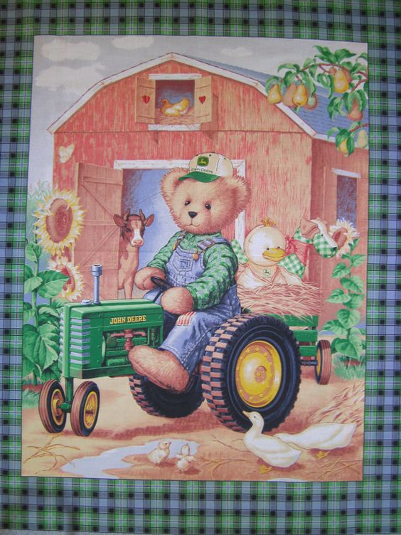 John Deere Teddy Bear Riding Tractor Quilt Panel Fabric To
